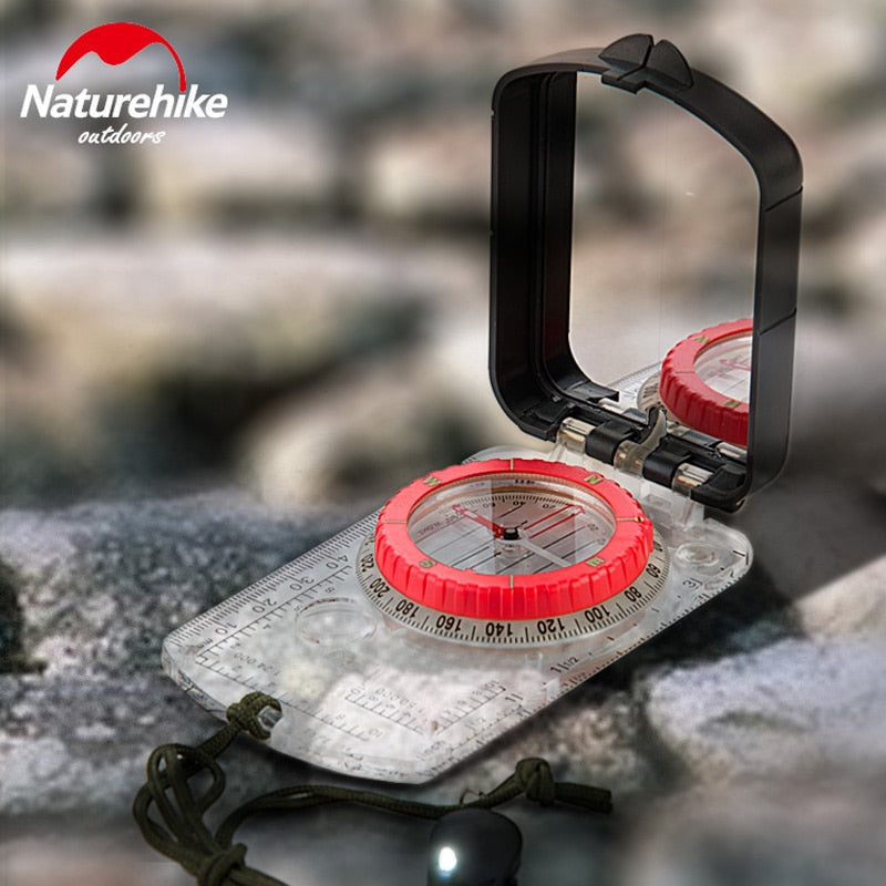 NatureHike Luminous Compass With Mirror LED Light Durable Anti-shock Stable Waterproof Hiking Climbing Multifunctional Compass
