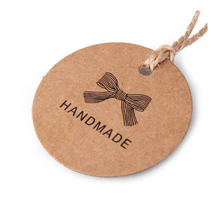 100pcs Handmade Round Kraft Packing Gift Tag Bow style Kraft Paper Hang Tags Gift Packing Label Cards Garment Tag