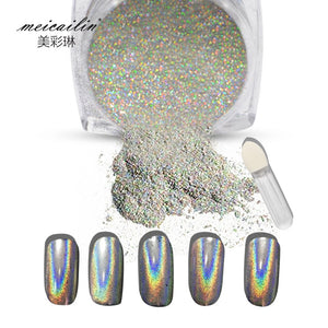 1g/Box Shiny Laser Nail Holographic Powder Rainbow Nails Glitter Dust Chrome Pigment Manicure Pigments Nails Art Decorations
