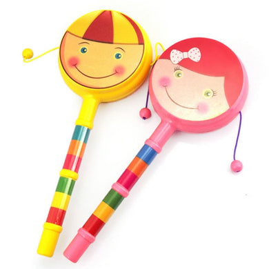 1pc Smile Baby Kid Percussion Educational Musical Instrument Toy Shaking Rattle Drum P0
