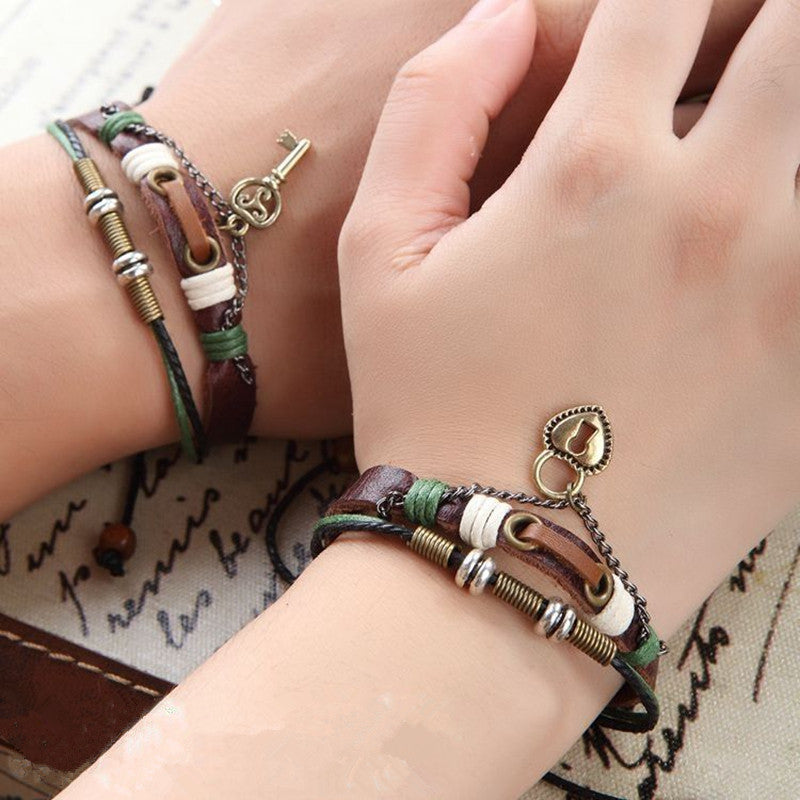2 pcs His & Hers Lovers Key Braclet Bangles Lock and Key Couples Leather Bracelet Friendship Hot Man Women CMQ9068