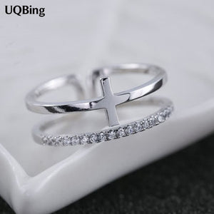 s 925 Sterling Silver Rings Cross Double Crystal Ring For Girl Women Gift Jewelry