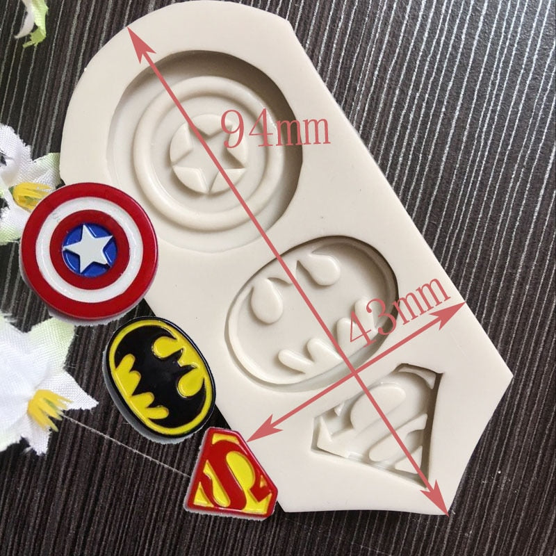 Captain America Superman Batman Logo Chocolate Accessories Silicone Cake Mold  Baking Tools