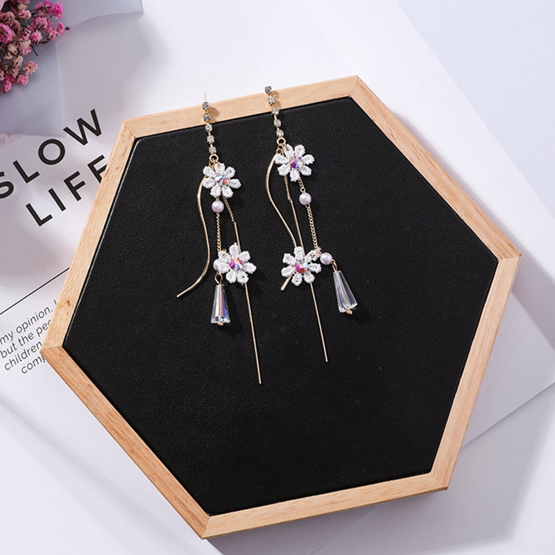 Cute Lace Flower Long Chain Tassel Crystal Pendant Drop Earrings Temperament Fashion Party Jewelry Gift For Women 5B2012