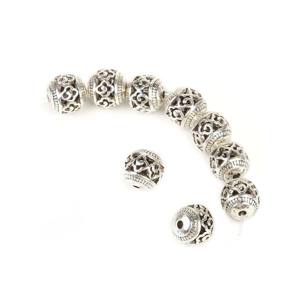 Fashion 10pcs/lot 11mm Antique Silver Plated Hollow Zinc Alloy Beads Charms Fit Jewelry Findings