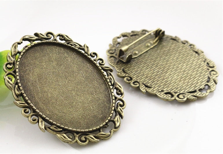 Fashion  2pcs 30x40mm Inner Size Antique Bronze Pin Brooch Pierced Style Base Setting Pendant (B1-17)