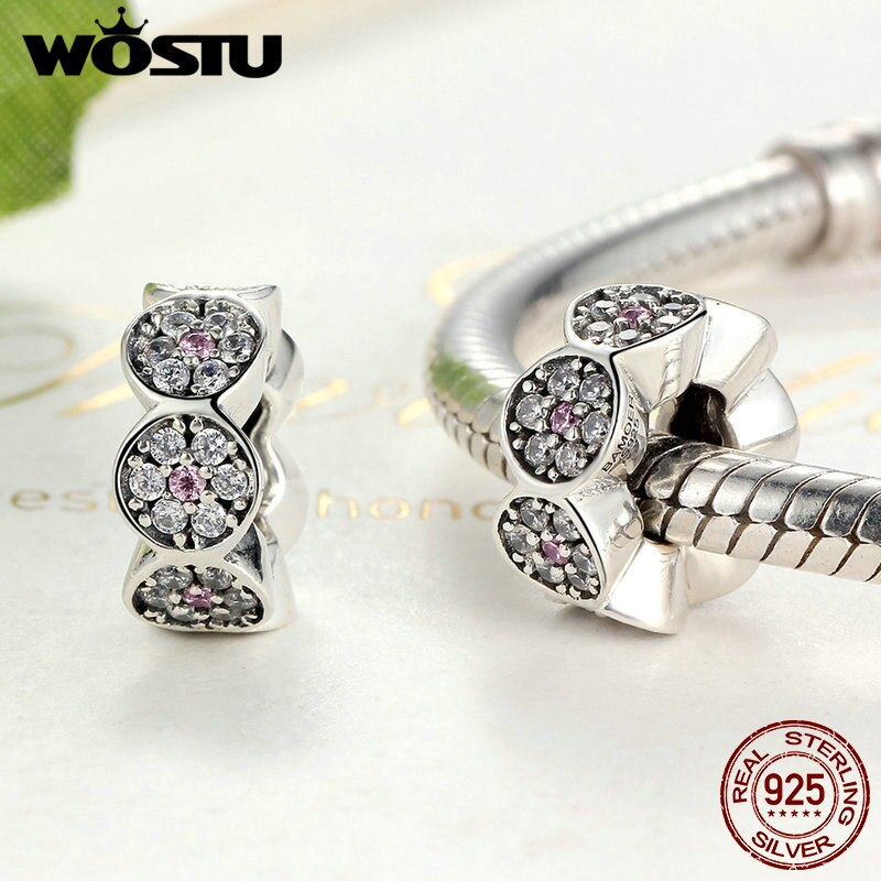 Fashion 925 Sterling Silver Sparkling Zircon Spacer Charm Beads Fit Original Bracelet Bangle Authentic Jewelry Gift