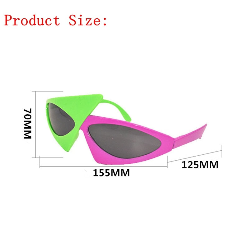 Novelty Green Pink Contrast Color Glasses Roy Purdy Style Hip-Hop Asymmetric Triangular Sunglasses Party Supplies Decoration