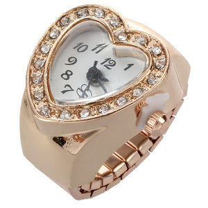 Nrpfell Love Heart Shape Ring Watches For Women Gold Color Crystal Finger Ring Watch For Lovers Gifts relojes para mujer