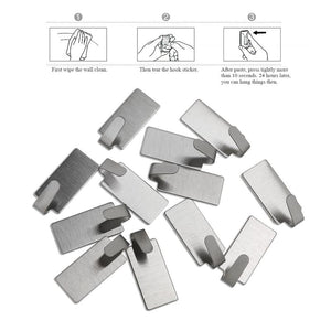 OUNONA 12pcs Wall Hooks Stainless Steel Adhesive Towel Hook Wall Hanging Hanger Key Coat Hat Hooks Door Kitchen Bathroom Hook