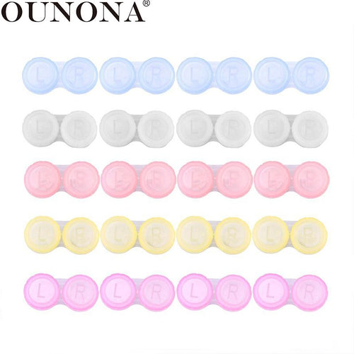 OUNONA 20pcs Mini Contact Lenses Case Easy Carry L+R Contact Lenses Box Holder Flip-top Storage Box Container (Assorted Colors)