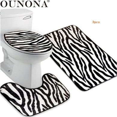 OUNONA 3pcs Zebra Flannel Lid Toilet Cover & Pedestal Rug & Bathroom Mat Set (Zebra-stripe)