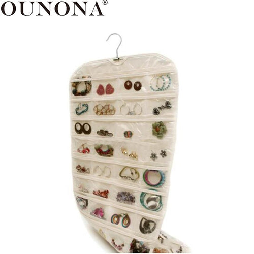 OUNONA Double-sided Jewelry Hanging Organizer 80 Pockets Wall Storage Bag Jewelry Pouch Organizer Jewelry Display Holder Bag