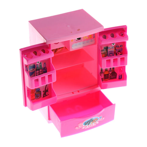 One Piece Pink Refrigerator Freezer For  Dollhouse Furniture Play Set Doll Sweet Christmas Gifts Supplies