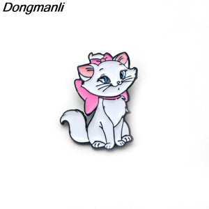P2268 Dongmanli Marie Aristocats Kids pins Maria Cat Enamel brooch for women Girls badge Jewelry Accessories