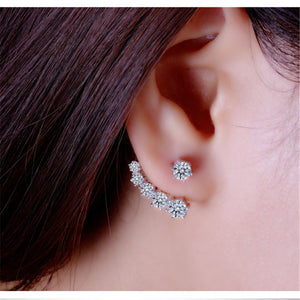 Fashion 925 Sterling Silver Shiny Cubic Zirconia Crystal Beads Neckband Stud Earrings for Women Wedding Bijoux Brinco