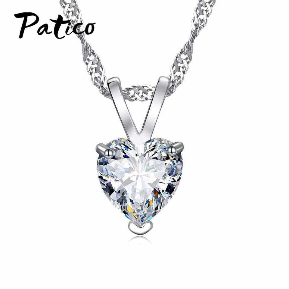 "Romantic Heart CZ Pendant Necklace For Women Ladies 925 Sterling Silver 18""Chain Jewelry Lover Valentine's Day Gifts"