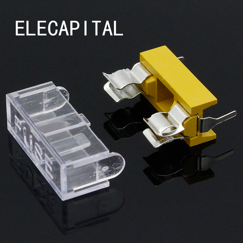 Panel Mount PCB Fuse Holder Case w Cover 5x20mm
