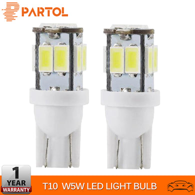 Partol 2Pcs T10 LED Bulbs W5W 10-5630 SMD Car Lights 194 168 Wedge Replacement Reverse Instrument Panel Lamp Clearance Lights