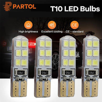 Partol 4PCS Auto T10 LED Light Bulb Canbus 194 W5W 12 SMD 2835 No Error LED Light Parking T10 LED Car Side Light Car Styling 12V
