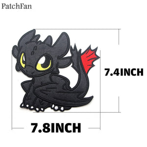 Patchfan how to train your dragon night fury Applique patches pour sewing shirt clothing para jacket badge iron on t-shirt A1439
