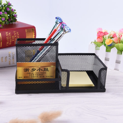 Pen Holders Affordable Students Office Desk 1pcs 3 Compartments Metal Pen Container Black School Stationery Desk Organizer