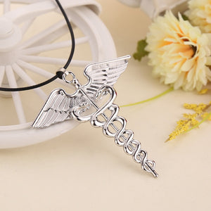"""Percy Jackson""  Angle Wings Magic Wand Caduceus Pendant Necklace Jewelry for Men and Women"