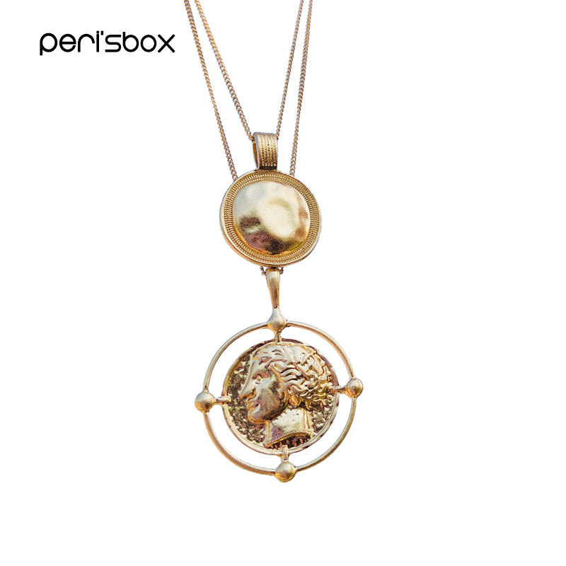 Peri'sBox Gold Color Hanging Portrait Coin Chain Choker Necklace Female Layered Charms Pendant Chokers Necklaces Bohemia Jewelry