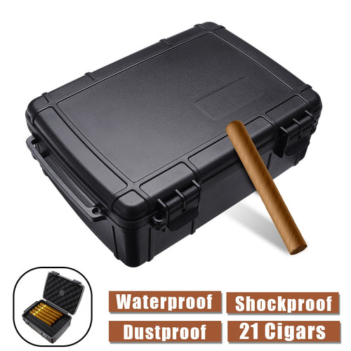 Portable Waterproof Travel Cigar Case Box Built in Humidor Dust proof Shockproof Black Cigar Holder Storage Box Gift