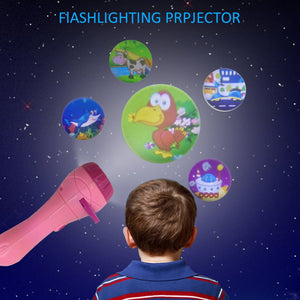 Projector Toy Flashlight Sleep Bedding Story Early Developing Toy Animal Slide For Infants Children Kids