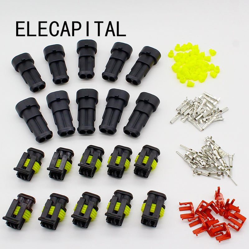 Promotion 10 Kit 2 Pin Way Waterproof Electrical Wire Connector Plug