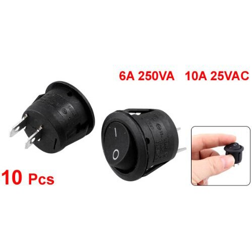 Promotion 10Pcs AC 6A 10A 250V On Off Snap in SPST Round Boat Rocker Switch Black