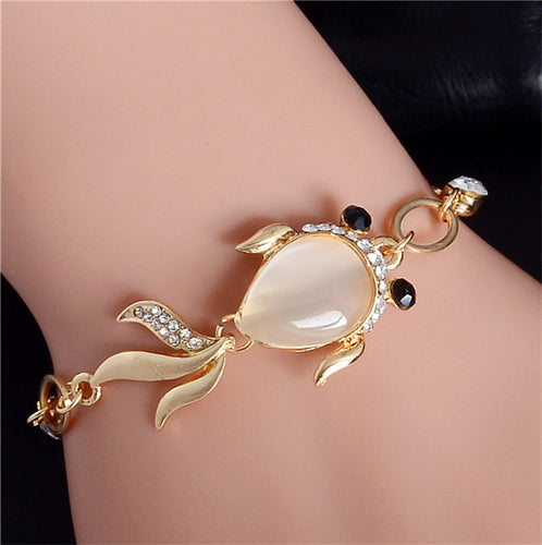 QCOOLJLY Lovely Fish Shape Design 1pc Gold Color Attractive Australia Crystal Party Lady Bracelet For Women