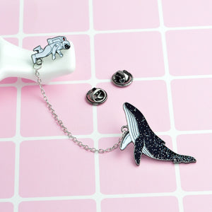 QIHE JEWELRY Astronaut and whales Cartoon brooches Pins Fish Lapel pins Badges Women fashion jewelry Pins  Gift for her