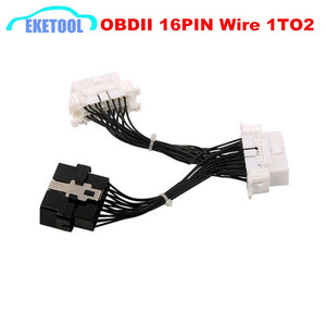 Quality A Newest OBD 2 Y Splitter Extension Cable OBD2 16PIN Male to Female ELM327 Electronic Wire Connector