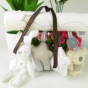 Rabbit baby hanging bed safety seat plush toy Hand Bell Multifunctional Plush Toy Stroller Mobile Gifts