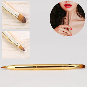 Retractable Double Head Gold Lip Brush Adjustable Portable Lipstick Gloss Pen Eyeliner Eyebrow Professional Makeup Brush