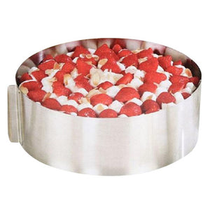 Retractable Stainless Steel Circle Mousse Ring Cake Baking Tool Set Size Shape Adjustable Bakeware Silver FJS