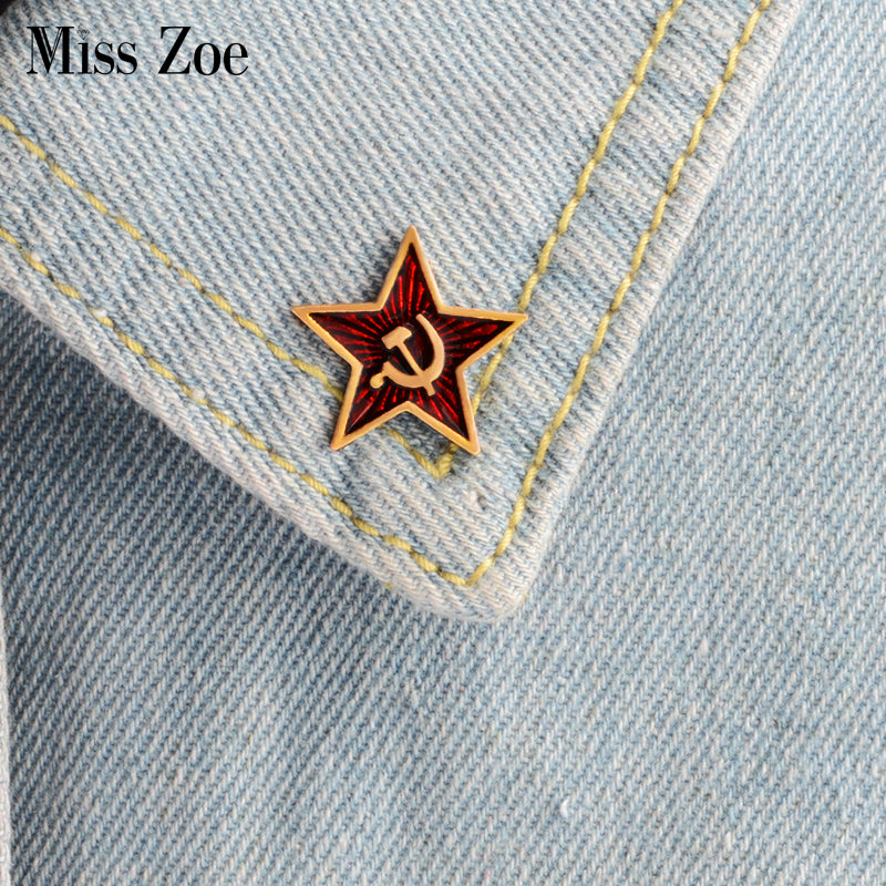 Retro USSR symbol enamel pin Red Star Sickle Hammer Cold War Soviet CCCP Brooch Gift icon Badge lapel pin for coat cap