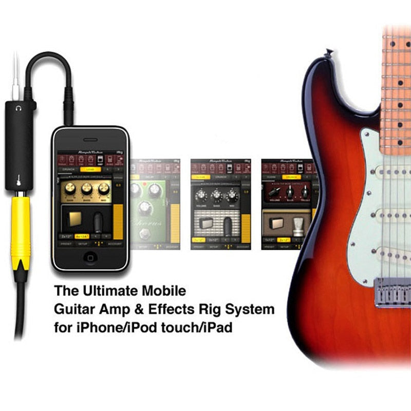Rig Guitar Link Audio Interface Cable AMP Amplifier Effects Pedal Adapter Tuner System Convertor for iPhone iPad iPod