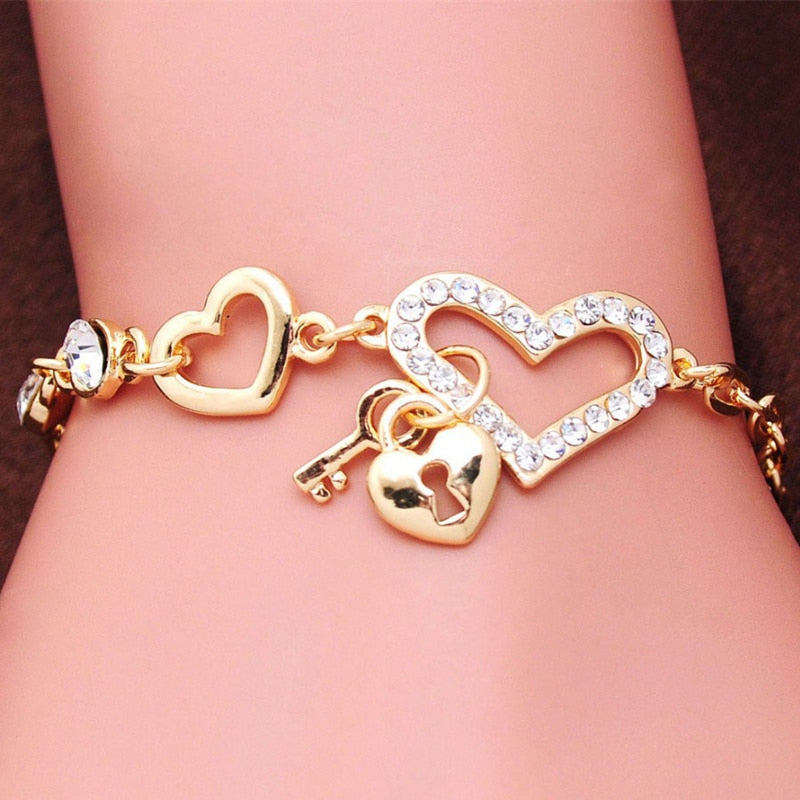 Romantic CZ Crystal Heart Bracelets Gold Color Lock & Key Charms Bracelets for Women Love Cuff Bracelet Bangles Jewelry Gift