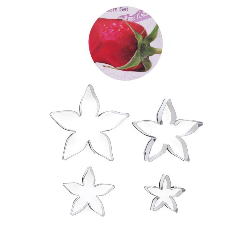 Rose Flower Stainless Cookie Cutter Rose Flower Calyx Serrate Leaves Biscuit Fondant Cake Mould Icing Mold DIY Baking Tool