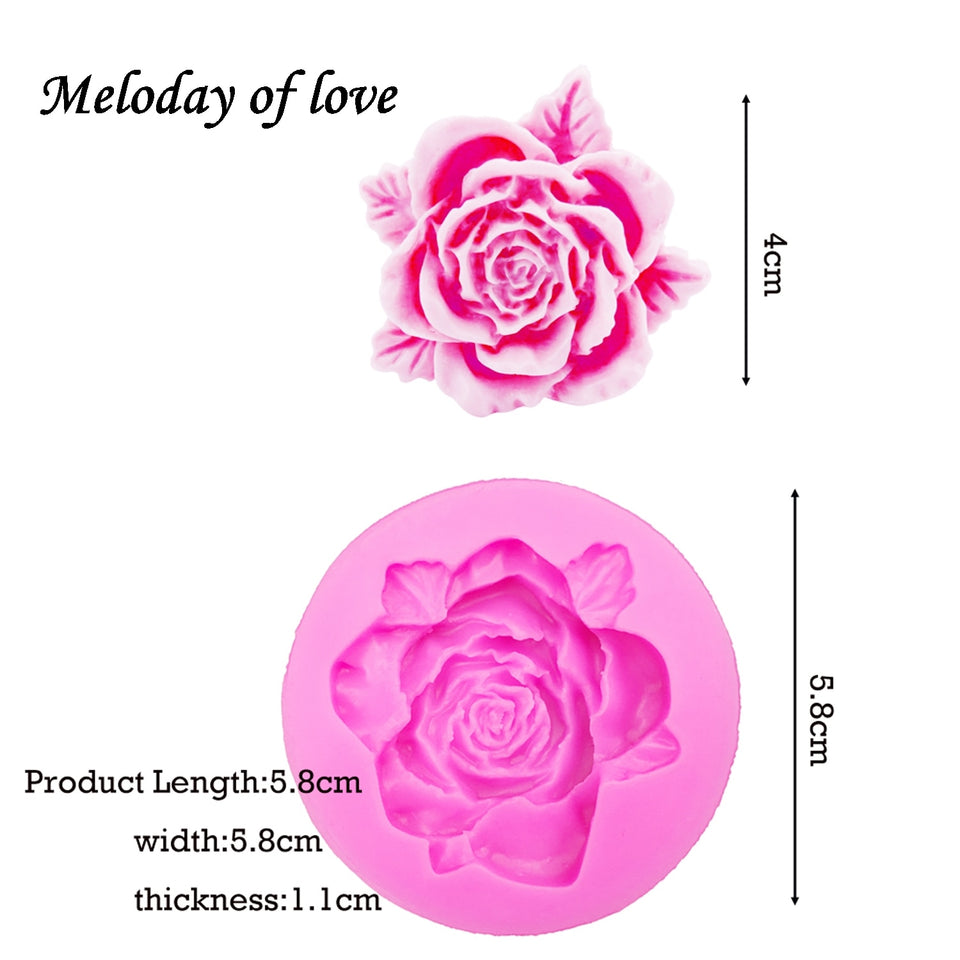 Roses Flowers chocolate wedding cake decorating tools DIY baking fondant silicone mold Clay Resin sugar Candy Fimo Sculpey T0108