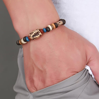 Rotating Fish Bone Beaded Bracelet Original Tribal Jewelry for Men Surfer Cuff Braslet Adjustable Bangle