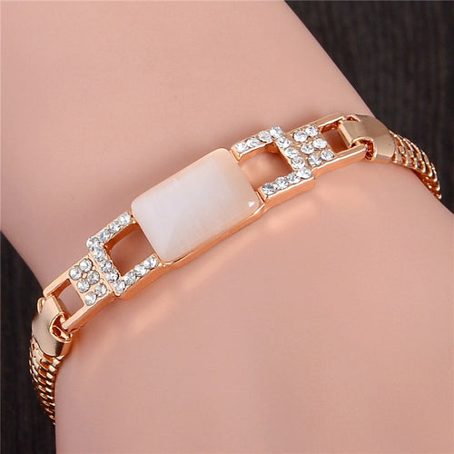 SHUANGR Fashion Gold Color Jewlery Round Cut Austrian Crystal SquareNatural Stone Bracelet For Women Gift TL226