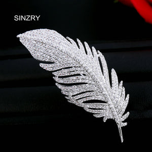 SINZRY Jewelry Hotsale clear white cut cubic zircon micro paved elegant leaf brooch pin for women christmas gift