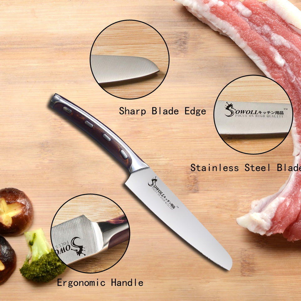 SOWOLL Brand Very Sharp And Durable 4cr14mov Stainless Steel Kitchen Knife 5 inch Utility Resin Fibre Handle Knife Cutter Tools