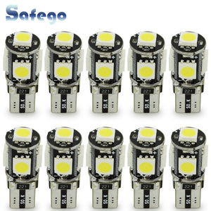 Safego 10pcs LED W5W T10 194 168 Canbus 5050 Car Light Bulbs 5 SMD Error Free Wedge Bulb Interior Lamp Motorcycle White 6000K