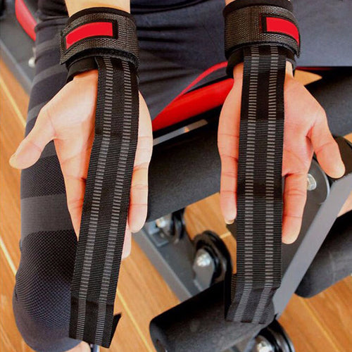 Sale 2Pcs No-Slip Barbell Straps Wraps Hand with Wrist Support Thicken Gym Training Weight Lifting Gloves Bar Grip