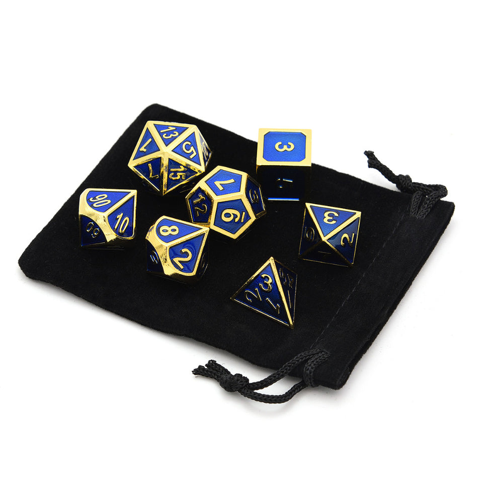 Set of 7 Metal Dice Shiny Gold Finish with Royal Blue Enamel Paint for RPG DND MTG Table Games